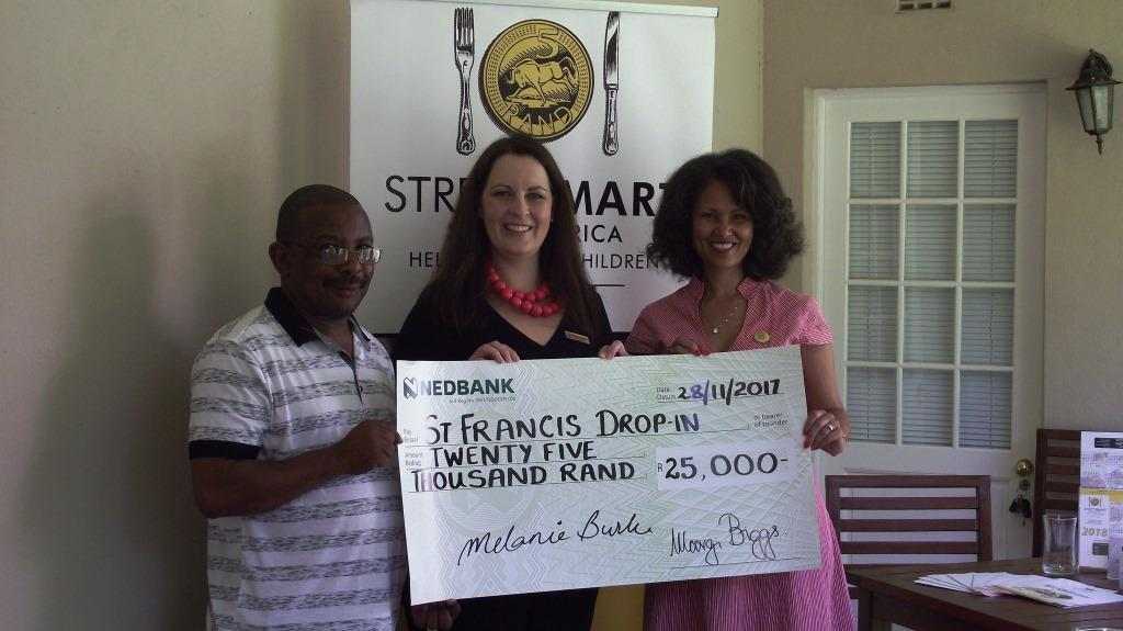 l.t.r. Desmond George and Chantelle vd Merwe St Francis Drop In FAMSA with Melanie Burke Chairman StreetSmart SA WP